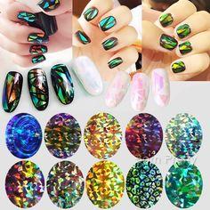 $1.65 1 Sheet 8*5cm Shiny Laser Holographic Glass Paper Nail Art Manicure Sticker 10 Colors - BornPrettyStore.com