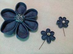 Handmade denim brooch set