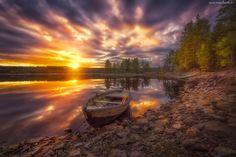 Łódka, Jezioro, Las, Chmury, Zachód Słońca, Ringerike, Norwegia