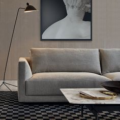 Poliform_Bristol modular sofa with removable fabric covering. Tribeca coffee table with bronze painted metal structure and top in calacatta oro marble. Sofa Design, Furniture Design, Space Furniture, Cottage Living Rooms, Living Room Sofa, Corner Sectional, Corner Sofa, Divani Living, Bristol