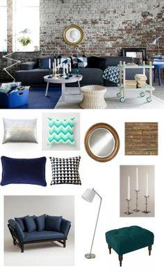 #ColorFridays #blue. #livingroom #gold #adoredecor