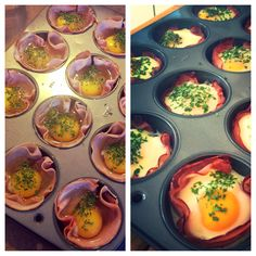 A perfect brunch! Eggs baked with ham in a muffin pan!