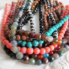 Bulk gemstone beads 10 strands 6mm style mixed agate by FARRAgem, $62.00