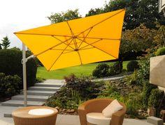 Schon Gelber Ampelschirm Von Zangenberg ☂ Saint Tropez ☂ Klassischer  Freiarmschirm Für Die Terrasse