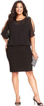 R & M Richards R&M Richards Plus Size Split-Sleeve Pleat Dress on shopstyle.com
