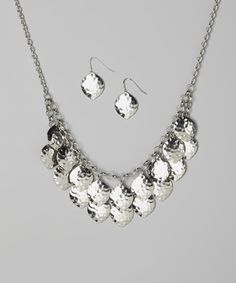 Look at this Fiesta Jewelry Silver Hammered Disk Bib Necklace & Earrings Set on #zulily today!