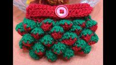 Crochet Strawberry stich purse -Πλεχτο με βελονακι πορτοφολακι με την πλ...