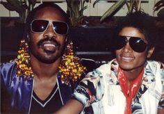 Stevie Wonder and Michael Jackson-wonder if MJ got the idea for his sunglasses from Stevie? :)