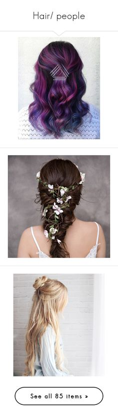 """""""Hair/ people"""" by hogwarts-is-home ❤ liked on Polyvore featuring beauty products, haircare, hair, hairstyle, accessories, hair accessories, flower garland, bridal floral crown, flower crowns and bridal flower headband"""