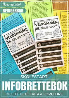 Malimo - Infobrettebok til skolestart. En kjempepraktisk måte å dele ut info til foreldre og elever. Henger fint på kjøleskapet! Fyll rett inn i malen
