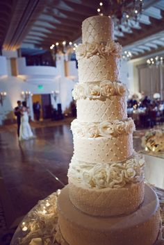 stunning six layers luxury wedding cake Hryer + Parisa | Montage Beverly Hills