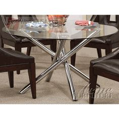 Modern Tubes Base Round Glass Top Dining Table