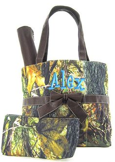 Personalized Diaper Bag Camouflage Camo Brown Trim Canvas Monogrammed. $38.99, via Etsy. If we have a baby boy :)