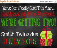 Black Friday Sale Twin Christmas Pregnancy Announcement/ Facebook Pregnancy Reveal/ Its Twins Reveal/ Grandparents Reveal/ Twin Pregnancy Re (5.60 USD) by DylanAndMadison