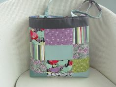 Patchwork Tote Bag Mauve Jade Aqua Sage Red £14.00