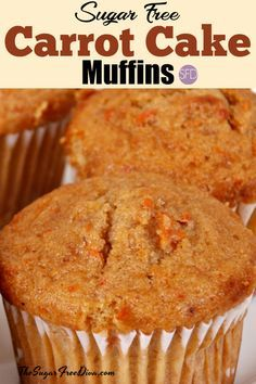 Sugar Free Carrot Cake Muffins that are so delicious! Sugar Free Carrot Cake Muffins that are so delicious! Sugar Free Carrot Cake, Sugar Free Deserts, Carrot Cake Muffins, Sugar Free Recipes, Sugar Free Muffins, Sugar Free Cookies, Diabetic Recipes, Diabetic Muffins, Recipes