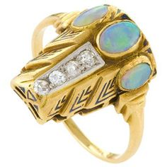 H. G. Murphy English Arts and Crafts Gold, Opal, Enamel and Diamond Ring