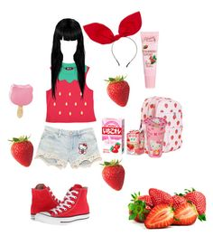 """Strawberry Kiss"" by monakusanagi ❤ liked on Polyvore featuring Hello Kitty, Johnny Loves Rosie, ASOS and Converse"