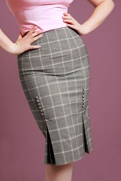 Plaid pencil skirt w/double button pleats