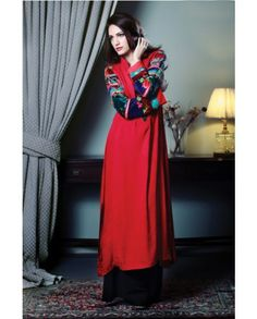 £40. www.iluvdesigner.com Available in Small, medium and Large. I LUV Designer - Zahra Ahmad Red Outfit From Winter Collection 2014 - Pakistani Dresses Latest Fashion.