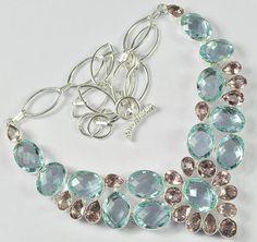"BLUE TOPAZ, PINK AMETHYST GEMSTONE .925 SILVER JEWELRY NECKLACE SIZE 18""  #Handmade #Necklace"