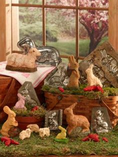 For Spring Decor: Create paper mache figures using vintage cake molds. #Easter #Bunny #Decor