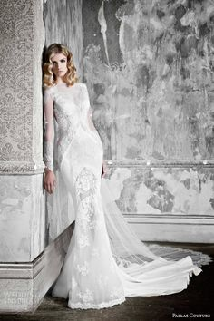 Pallas Couture wedding dresses 2015 | la promesse bridal collection halette long sleeve french lace contoured sheath wedding dress