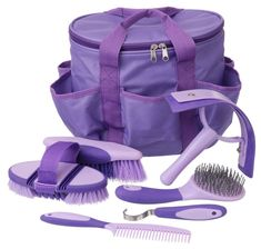Showman PURPLE 6 Piece KIDS SIZE PONY Grooming Kit w// Carrying Bag! NEW TACK!!