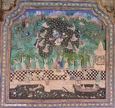 Krishna stealing the clothes of Gopis - painting at Chitrashala Bundi Rajasthan