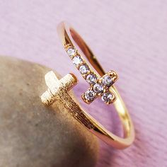 Women's Sideways Double Cross Ring w Crystal Yellow Gold Plated Size Adjustable