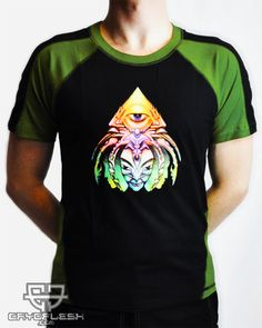 Spectraleyes Shirt Olive UV Reactive Printed Shirt made of Cotton Lycra. Festival Outfits, Festival Clothing, Future Fashion, Colorful Shirts, Visionary Art, Mens Tops, How To Wear, Cotton, Clothes