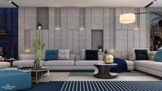 Basement modern living on Behance Drawing Room Wall Design, Wall Panel Design, Wall Tiles Design, Drawing Room Interior Design, Elegant Living Room, Living Room Modern, My Living Room, Living Room Interior, Living Area