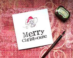 Christmas Card, Mouse Christmas Card, Christmouse, Christmas Pun Card, Pun Card…
