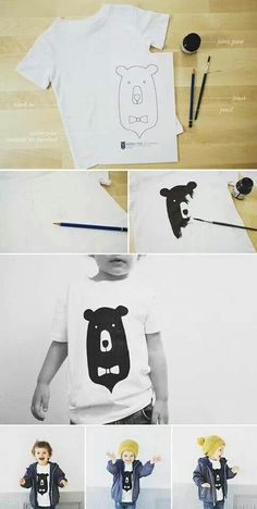 DIY Bear Kiddo Tee: Cool T-shirt Crafts for Kids and Teens. This could also be adapted to create a tee using other artwork by your kids. Diy For Kids, Crafts For Kids, Diy Crafts, Recycle Crafts, Recycling, Silkscreen, Shirt Diy, Diy Vetement, Bear T Shirt