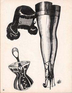 Vintage Sleaze: Gene Bilbrew Draws a Bettie Page Wig 1963