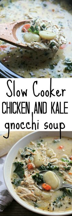 Slow Cooker Chicken and Kale Gnocchi Soup