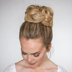 Hair Up Styles, Medium Hair Styles, Ponytail Styles, Bun Hairstyles For Long Hair, Braided Hairstyles, Hairstyle Ideas, Updo Hairstyles Tutorials, Bun Tutorials, Wedding Hairstyles Tutorial