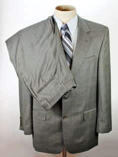 Jos A Bank 2 Piece Suit Blazer Jack & Trouser Pants 40R 34x34 Wool 2 Btn Plaid #JosABank #TwoButton