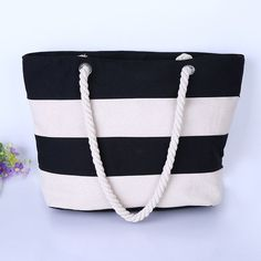 Women Beach Canvas Bag Fashion Color Stripes Printing Handbags Ladies Large Shoulder Bag Totes Casual Bolsa Shopping Bags