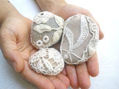Lace  Crochet vintage stones, 3 Nature Wedding table decoration, antique lace, Wedding favors, Folk Art.