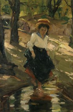 Umberto Argyros - Girl passing stream, p. Greek Art, Conceptual Art, Printmaking, Oil On Canvas, Little Girls, Museum, Painting, Fine Art, Sculpture