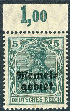 Memel, Michel 1cPOR - 5 Pf. Germania overprint stamp 1920 in good c colour, with upper margin, in perfect condition mint never hinged, with in detail certificate with color photo Huylmans (from more hysterical larger unit), superb in every respect (choice copy). M€ 600,-- plus 200 percent additional charge, therefore 1,800.--  Lot condition **  Dealer Veuskens Auctions  Auction Starting Price: 450.00 EUR