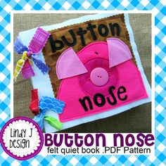 Button Nose Felt QUIET BOOK .PDF Pattern por LindyJDesign en Etsy