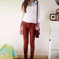 Red pants and jeans shirt