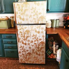 Peel and stick wallpaper fridge face-lift Kitchen Inspiration, Interior Inspiration, Peel Off Wallpaper, Fridge Makeover, Melbourne House, Rental Decorating, North Beach, Roommates, House Decorations