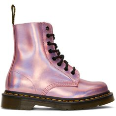 Dr. Martens Pink Reflective Metallic Pascal Lace-Up Boots (€100) ❤ liked on Polyvore featuring shoes, boots, ankle booties, pink, zapatos, pink leather boots, leather lace up boots, leather booties, leather lace up booties and laced up boots