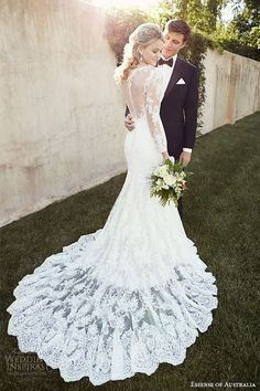 essense of australia wedding dress 2015 bridal bateau neckline long sleeves illusion back fit and flare gown