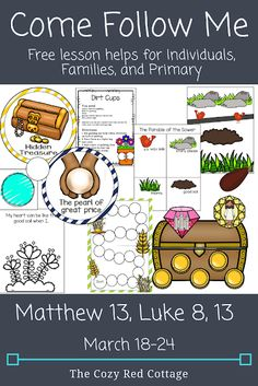The Cozy Red Cottage: Come Follow Me: Matthew 13; Luke 8; 13 (March 18–24) Lds Primary Lessons, Primary Activities, Bible Lessons, Sunday Activities, Object Lessons, Kids Sunday School Lessons, Lessons For Kids, Luke 8, Kids Church