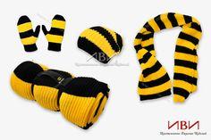 "Knitted set ""Beeline""  - scarf; - hat; - mittens; - plaid;"