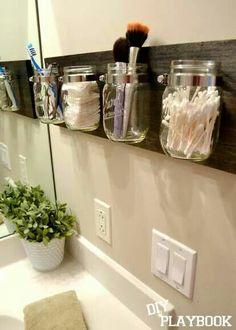 Mason jar bathroom holders